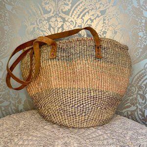 Vintage Boho Woven African Market Bag w/ Leather